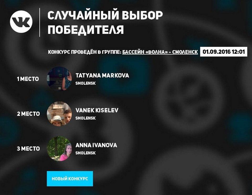 конкурс вконтакте скрин результатов